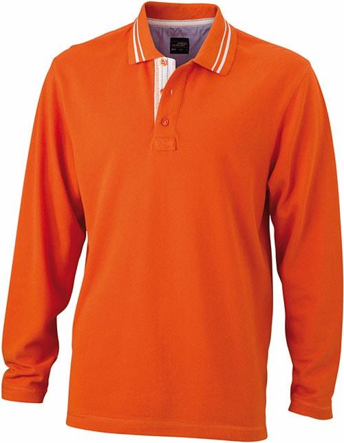 Pánská polokošile s dlouhým rukávem JN968 - Tmavě oranžová / bílá | XXXL