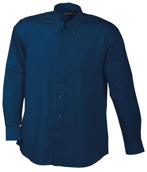 Pánská košile s dlouhým rukávem JN600 - Tmavě modrá   S