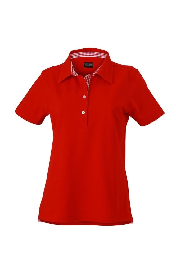 Elegantní dámská polokošile JN969 - Červená / červeno-bílá   L