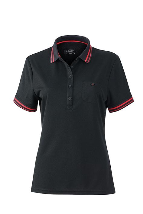 Dámská sportovní polokošile JN701 - Černá / červená | XXL