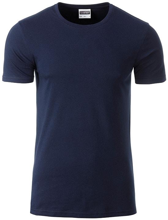 Klasické pánské tričko z biobavlny 8008 - Tmavě modrá | M