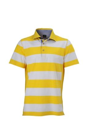 Pánská námořnická polokošile JN984 - Slunečně žlutá / bílá | XXXL