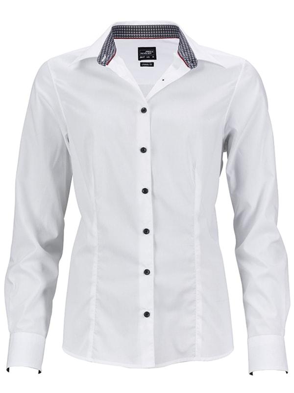 Dámská bílá košile JN647 - Bílo-titanově bílá | XL
