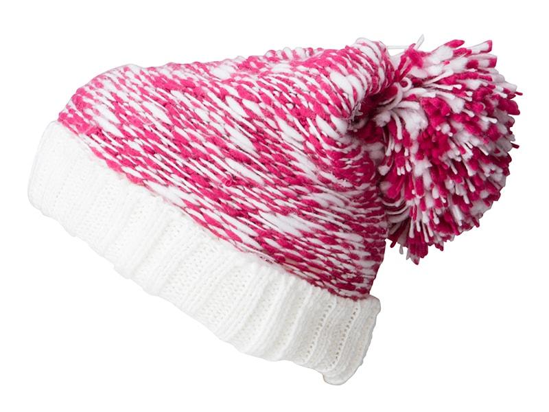 Pletená čepice s velkou bambulí MB7105 - Růžová / bílá | uni