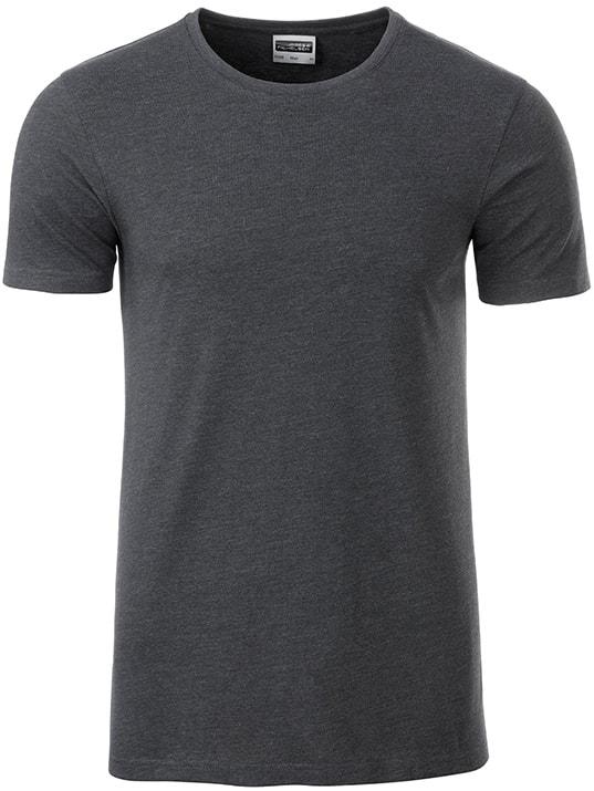 Klasické pánské tričko z biobavlny 8008 - Černý melír | M