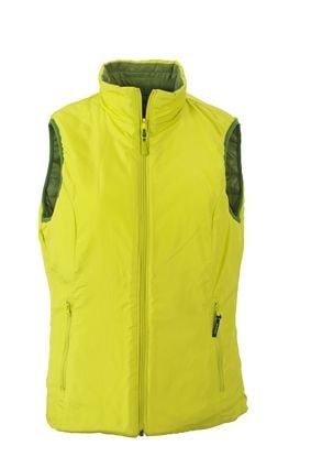Lehká dámská oboustranná vesta JN1089 - Zelená / žlutozelená   XL