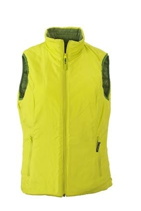 Lehká dámská oboustranná vesta JN1089 - Zelená / žlutozelená   XXL
