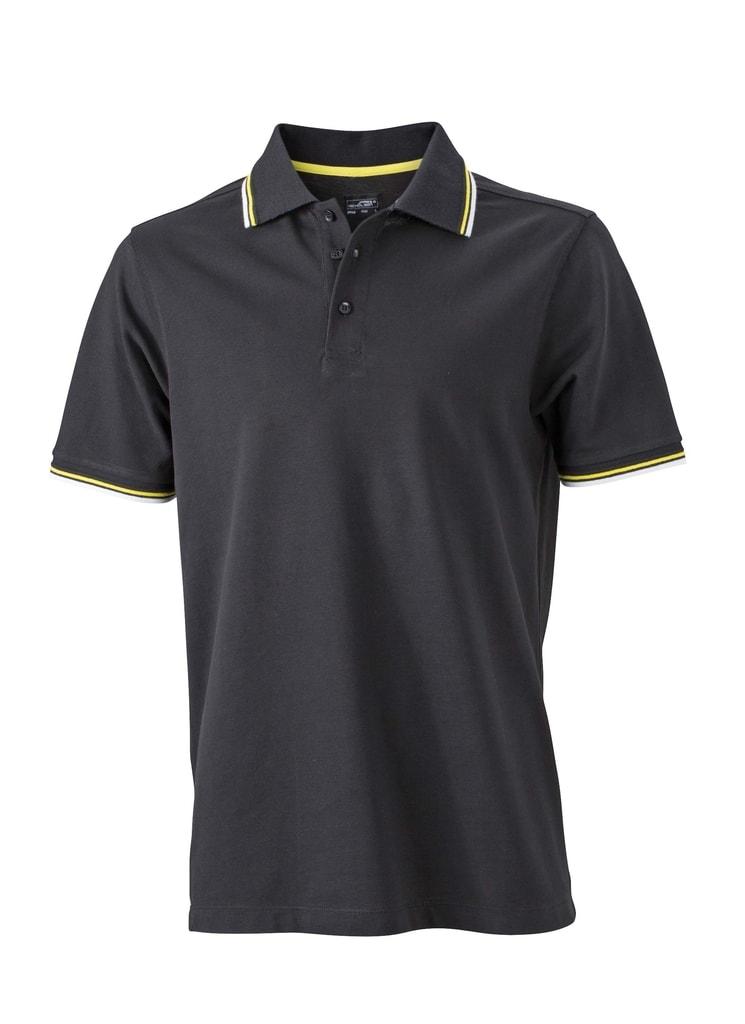 Moderní pánská polokošile JN966 - Černá / bílá / žlutá | XXXL
