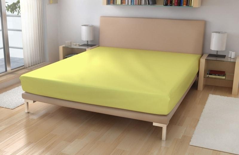 Polášek Jersey plachta s elastanom - Světle žlutá | 180 x 200 cm