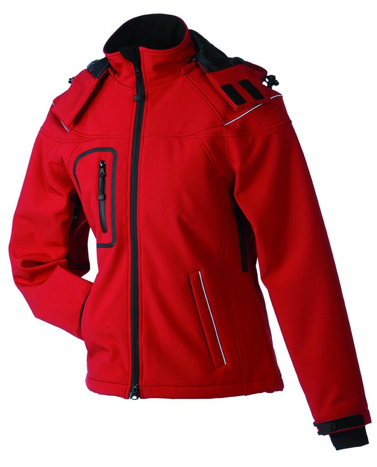 James & Nicholson Zimná dámska softshellová bunda JN1001 - Červená   XL