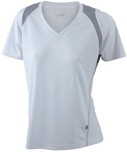 Dámské běžecké tričko s krátkým rukávem JN396 - Bílá / stříbrná | XXL