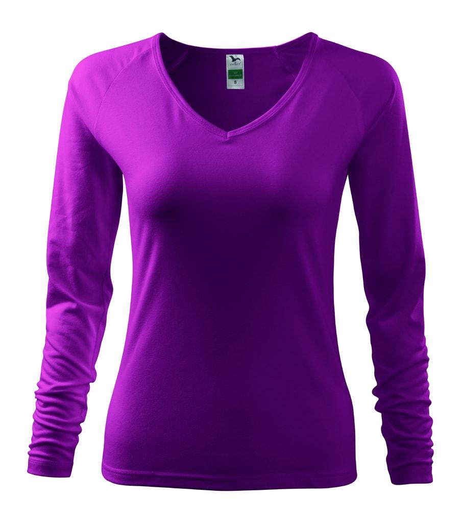 Dámské tričko s dlouhým rukávem - Fuchsiová | XL