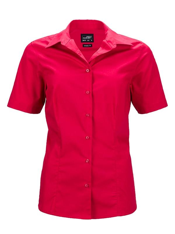 Dámská košile s krátkým rukávem JN643 - Červená   M