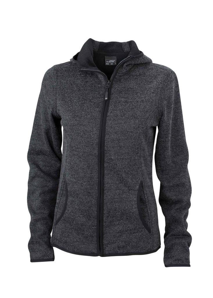 Dámská mikina s kapucí na zip JN588 - Tmavý melír / černá | XL