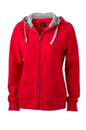 Dámská mikina na zip s kapucí JN962 - Červená / šedá | S