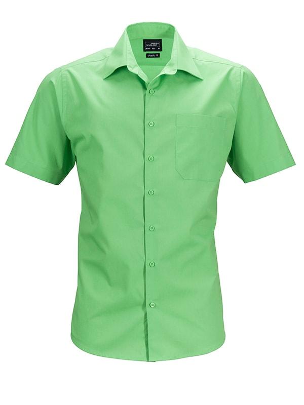 Pánská košile s krátkým rukávem JN644 - Limetkově zelená | XXXL