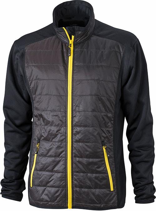 James & Nicholson Pánska športová bunda JN593 - Černá / černá / žlutá | XXXL