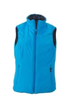 Lehká dámská oboustranná vesta JN1089 - Tmavě modrá / aqua   S