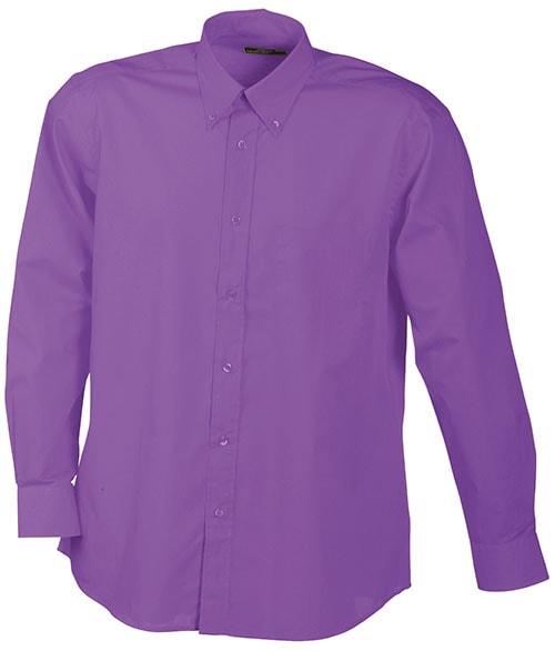 Pánská košile s dlouhým rukávem JN600 - Fialová | XXXL