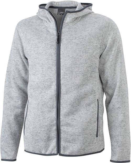 Pánská mikina s kapucí na zip JN589 - Světlý melír / tmavě šedá | XXXL