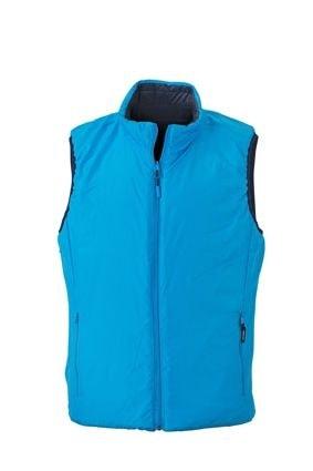 Lehká pánská oboustranná vesta JN1090 - Tmavě modrá / aqua | S