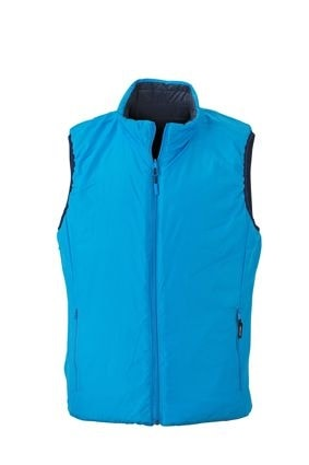 Lehká pánská oboustranná vesta JN1090 - Tmavě modrá / aqua | XL