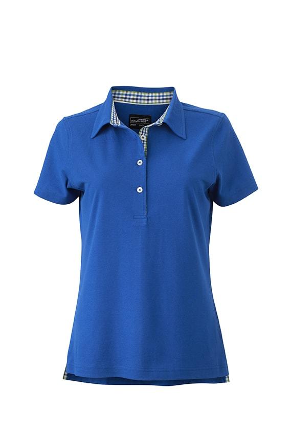 Elegantní dámská polokošile JN969 - Královská modrá / modro-zeleno-bílá   L