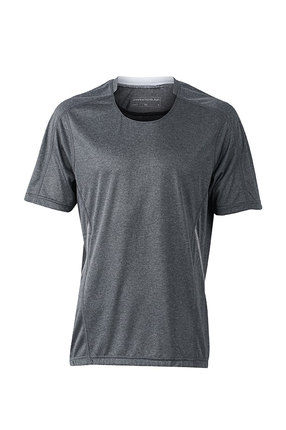 Pánské běžecké tričko JN472 - Černý melír / bílá | S
