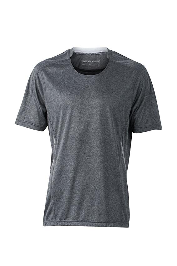Pánské běžecké tričko JN472 - Černý melír / bílá | M