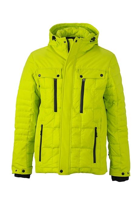 Sportovní pánská zimní bunda JN1102 - Žlutozelená / černá | XXL