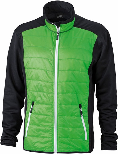 James & Nicholson Pánska športová bunda JN593 - Černá / zelená / bílá | XXXL