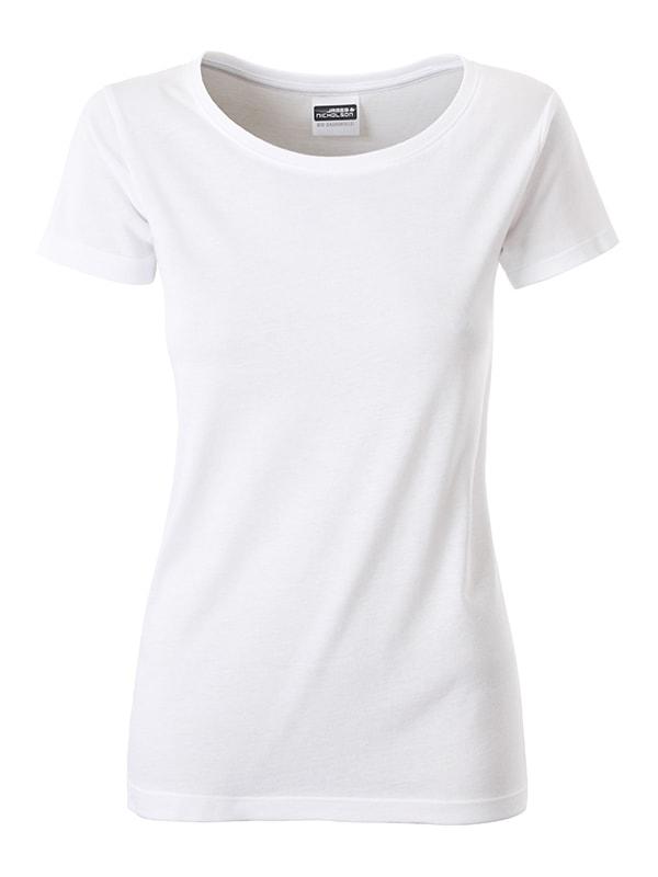 Klasické dámské tričko z biobavlny 8007 - Bílá | M