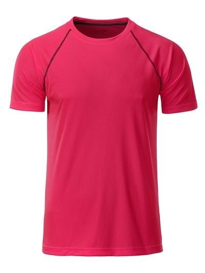Pánské funkční tričko JN496 - Jasně růžová / titanová | L