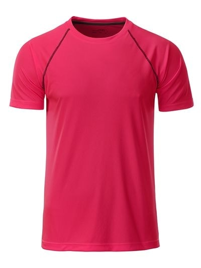 Pánské funkční tričko JN496 - Jasně růžová / titanová | S