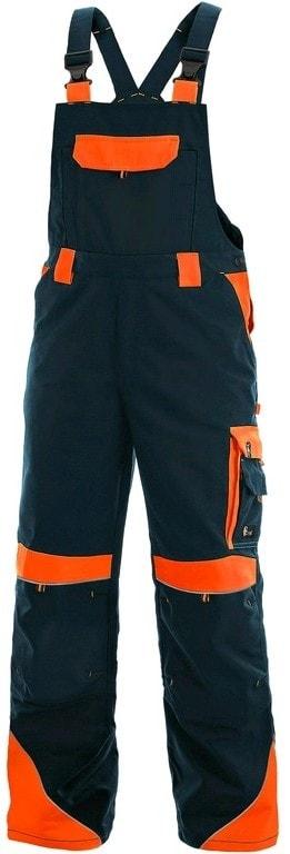 Pracovní kalhoty s laclem SIRIUS BRIGHTON - Tmavě modrá / oranžová | 56