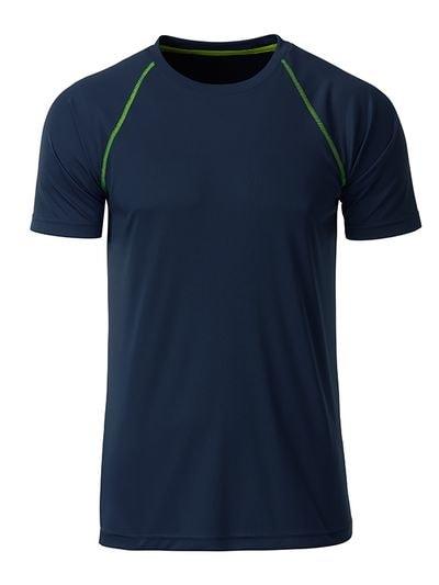 Pánské funkční tričko JN496 - Tmavě modro-zářivě žlutá | L