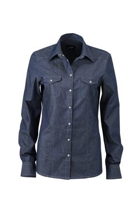 Dámská džínová košile JN628 - Tmavě džínová | XXL