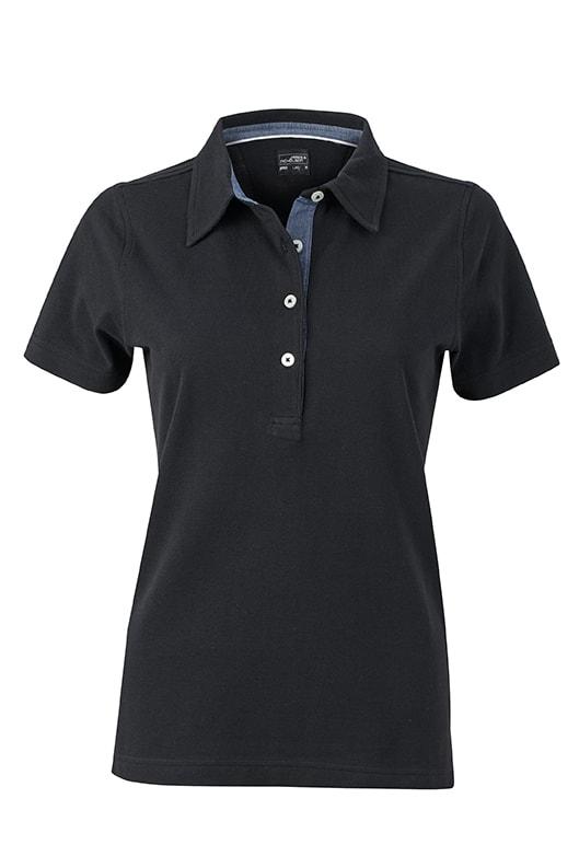 Elegantní dámská polokošile JN969 - Černá / světle džínová | L