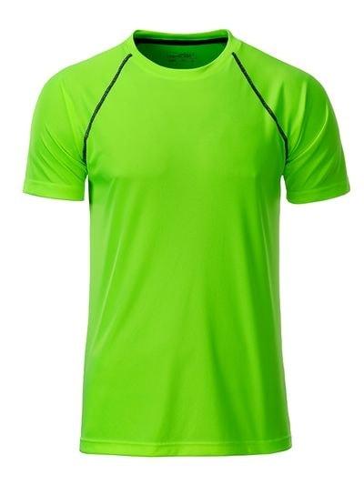 Pánské funkční tričko JN496 - Jasně zelená / černá | S