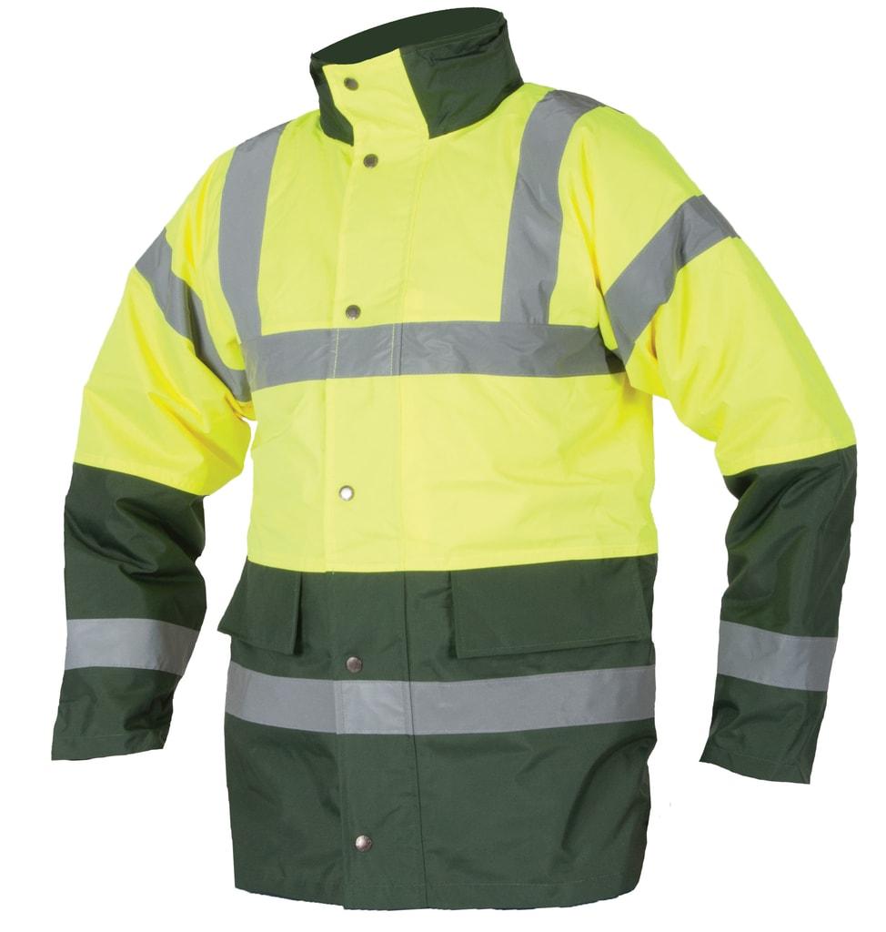 Zimní reflexní bunda s kapucí - Žlutá | S