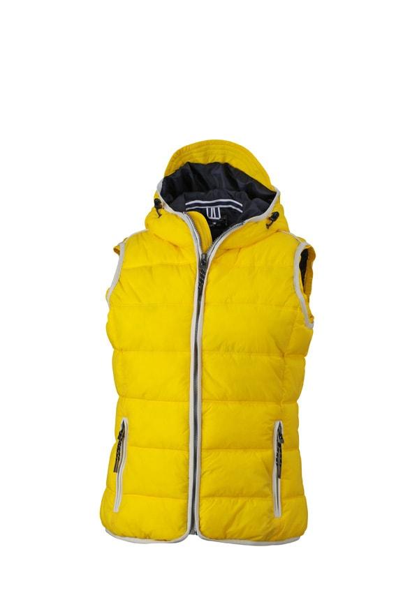 Dámská sportovní vesta JN1075 - Slunečně žlutá / bílá | XL