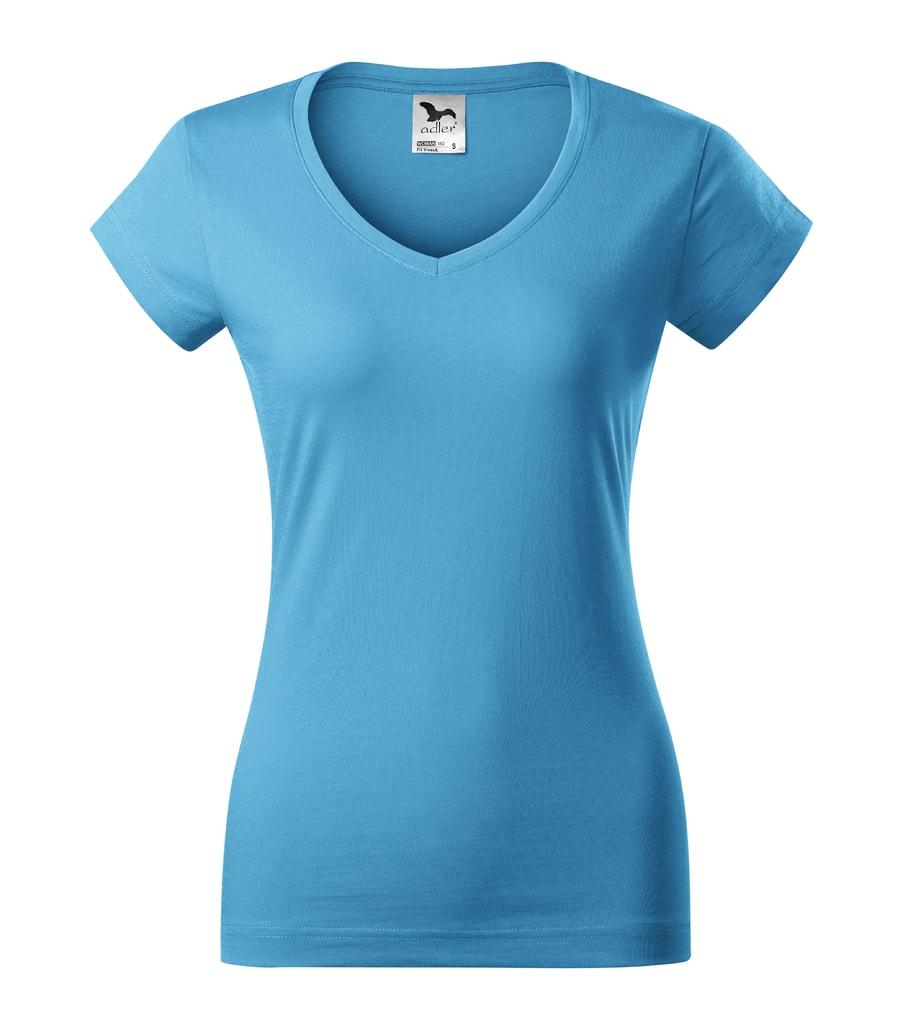 Dámské tričko Fit V-neck - Tyrkysová | L