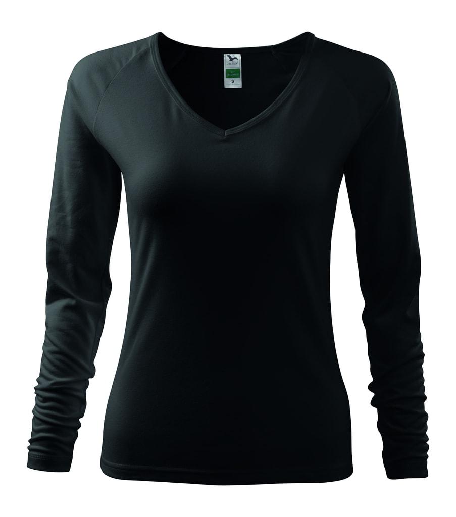 Dámské tričko s dlouhým rukávem - Černá | XXL