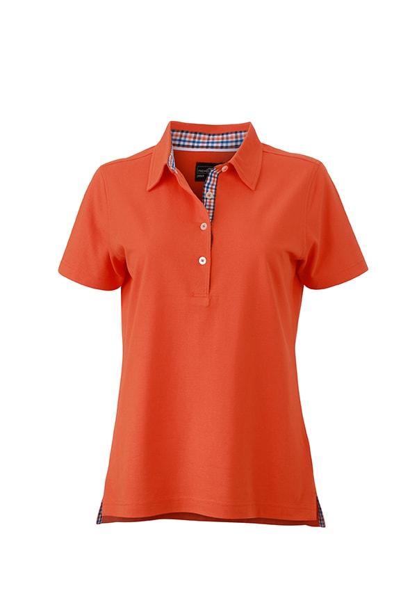 Elegantní dámská polokošile JN969 - Tmavě oranžová / modro /oranžovo / bílá   L
