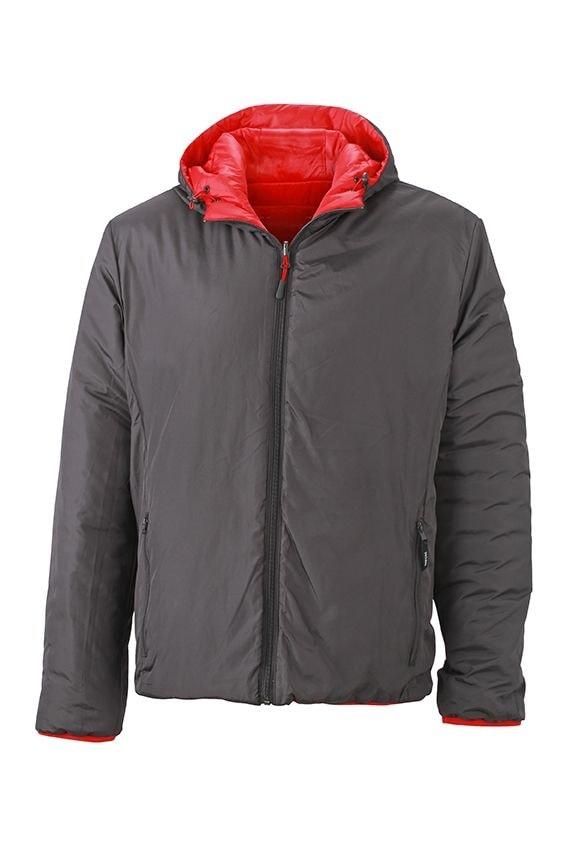 James & Nicholson Ľahká pánska obojstranná bunda JN1092 - Červená / tmavě šedá | XXXL