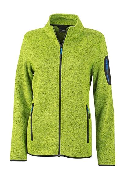 Dámská bunda z pleteného fleecu JN761 - Kiwi melír / královská modrá | S