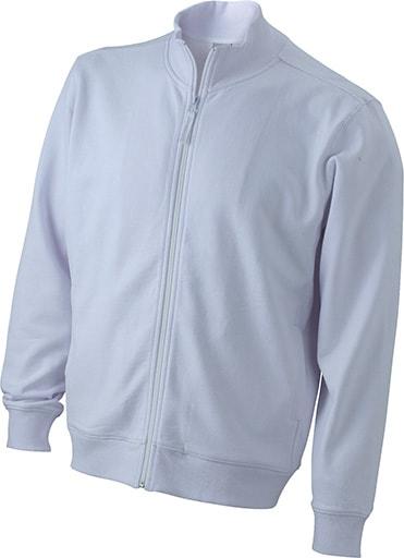 Pánská mikina na zip bez kapuce JN058 - Bílá | XL