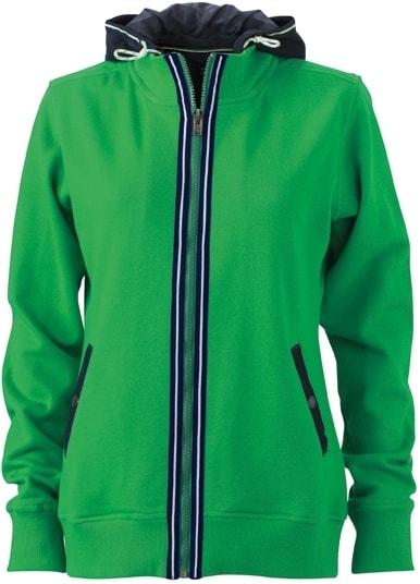 Dámská mikina s kapucí na zip JN995 - Kapradinová / tmavě modrá | XL