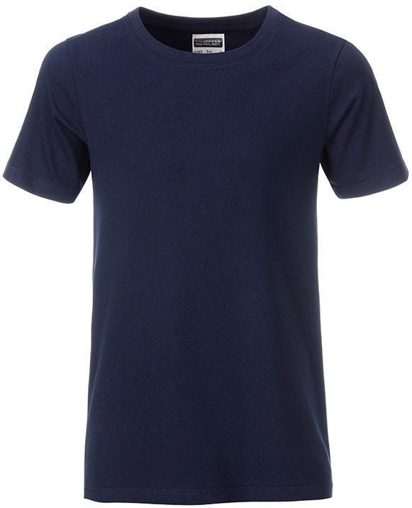 Klasické chlapecké tričko z biobavlny 8008B - Tmavě modrá | XL