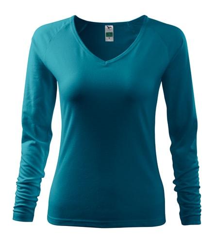 Dámské tričko s dlouhým rukávem - Tmavý tyrkys | XL